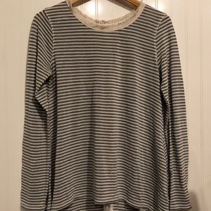Tops - Gray and off white stripped shirt
